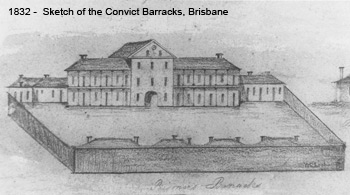 Sketch of the Convict Barracks in Brisbane, 1832