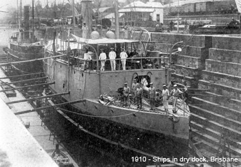 Ships in dry dock Brisbane 1910