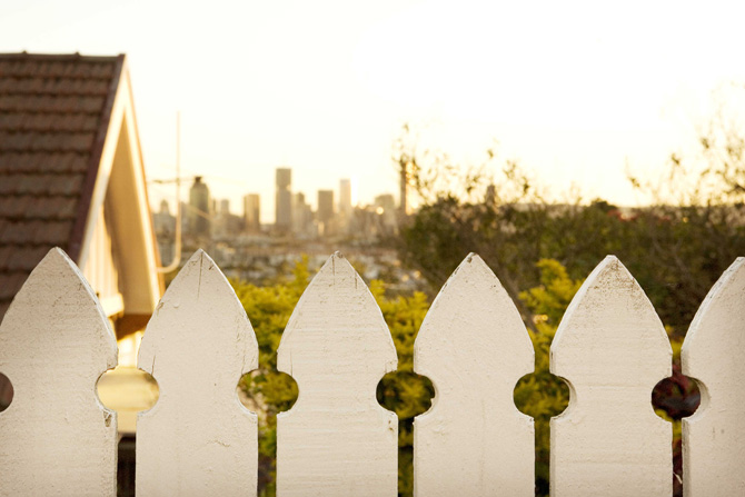 Typical fence and Brisbane skyline