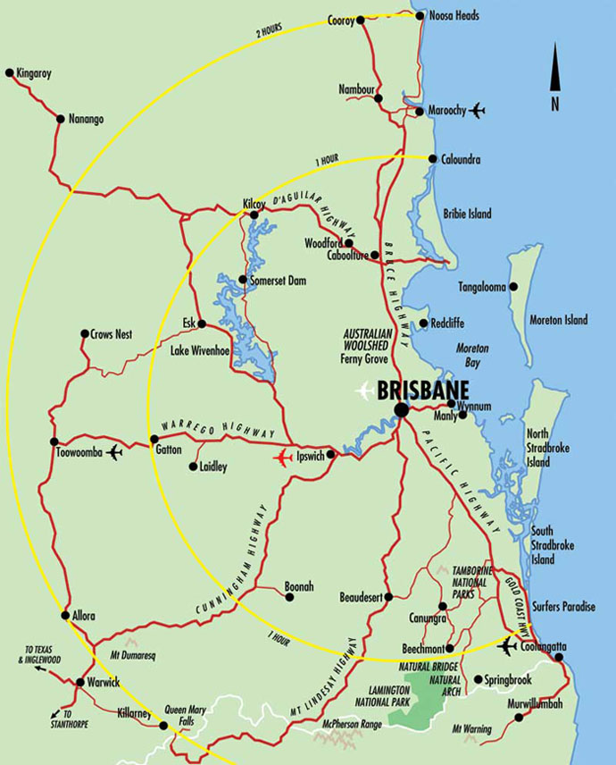 Map Of South East Queensland Map of Brisbane & South East Queensland   Brisbane Australia